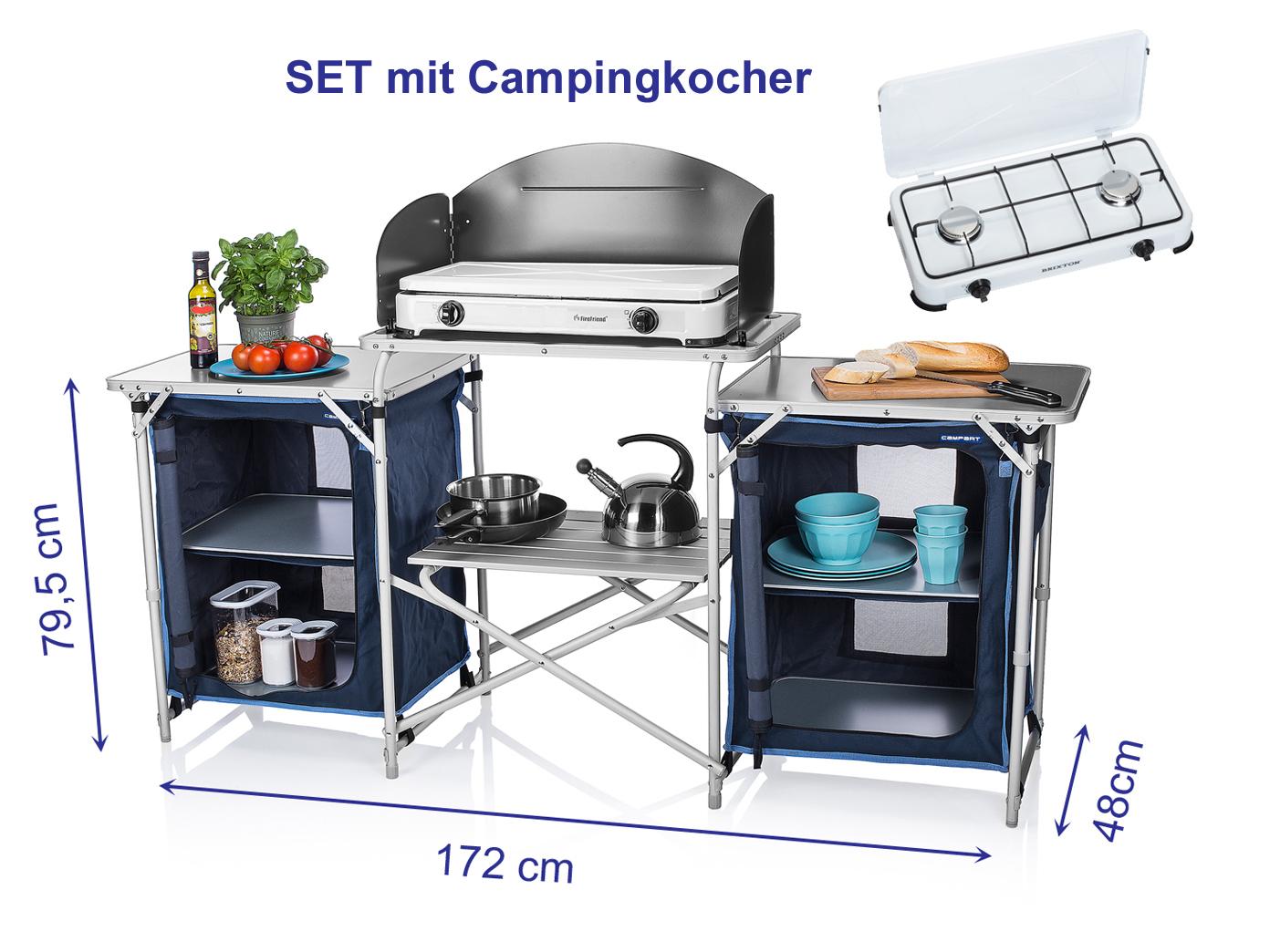Xxl campingk che faltbar set mit gaskocher outdoor camping for Kuchenschrank outdoor