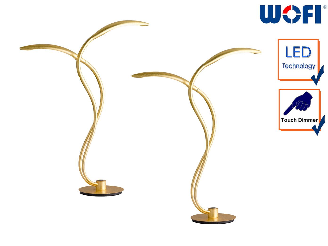2 Design Tischleuchten Goldfarbig 10,4W LED, Tischlampe Wohnzimmer ...