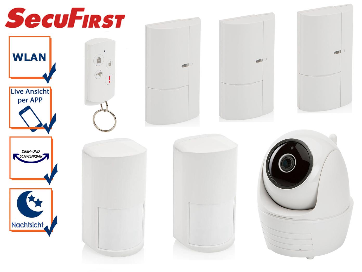 Alarmsystem mit IP Kamera, Magnetkontakten, Bewegungsmelder, Smartphone App
