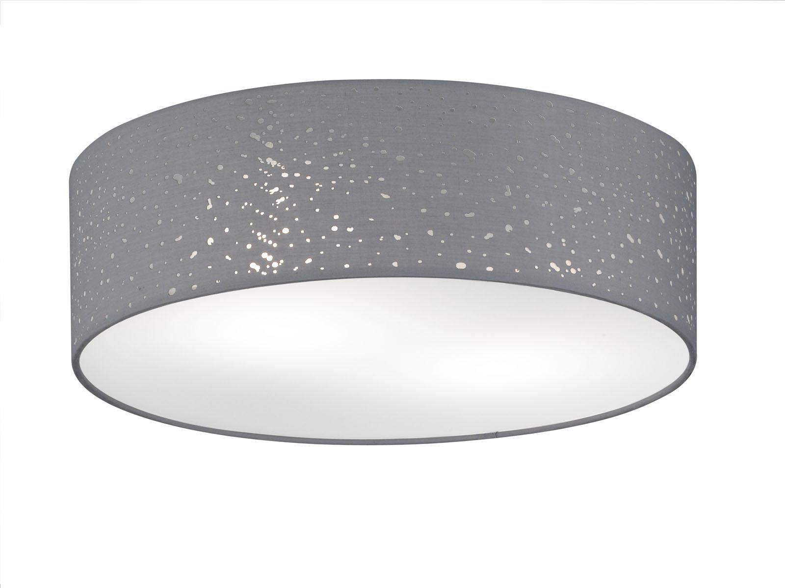 LED Deckenleuchte Ø 40cm Stoffschirm grau mit Dekor, Deckenlampe ...
