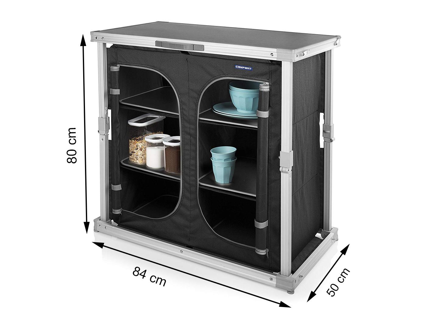 Stabile mobile Campingküche, Campingmöbel mit mit mit Klappmechanismus und 6 Staufächern 49a46f