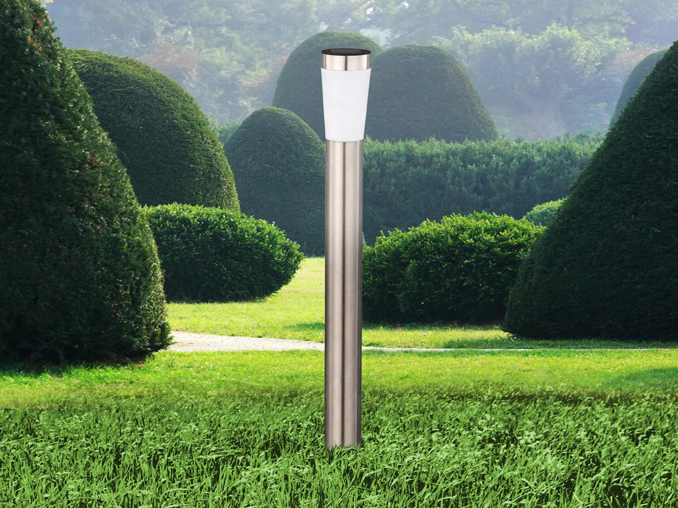led erdspieß solarlampen - 2er set für den garten - edelstahl