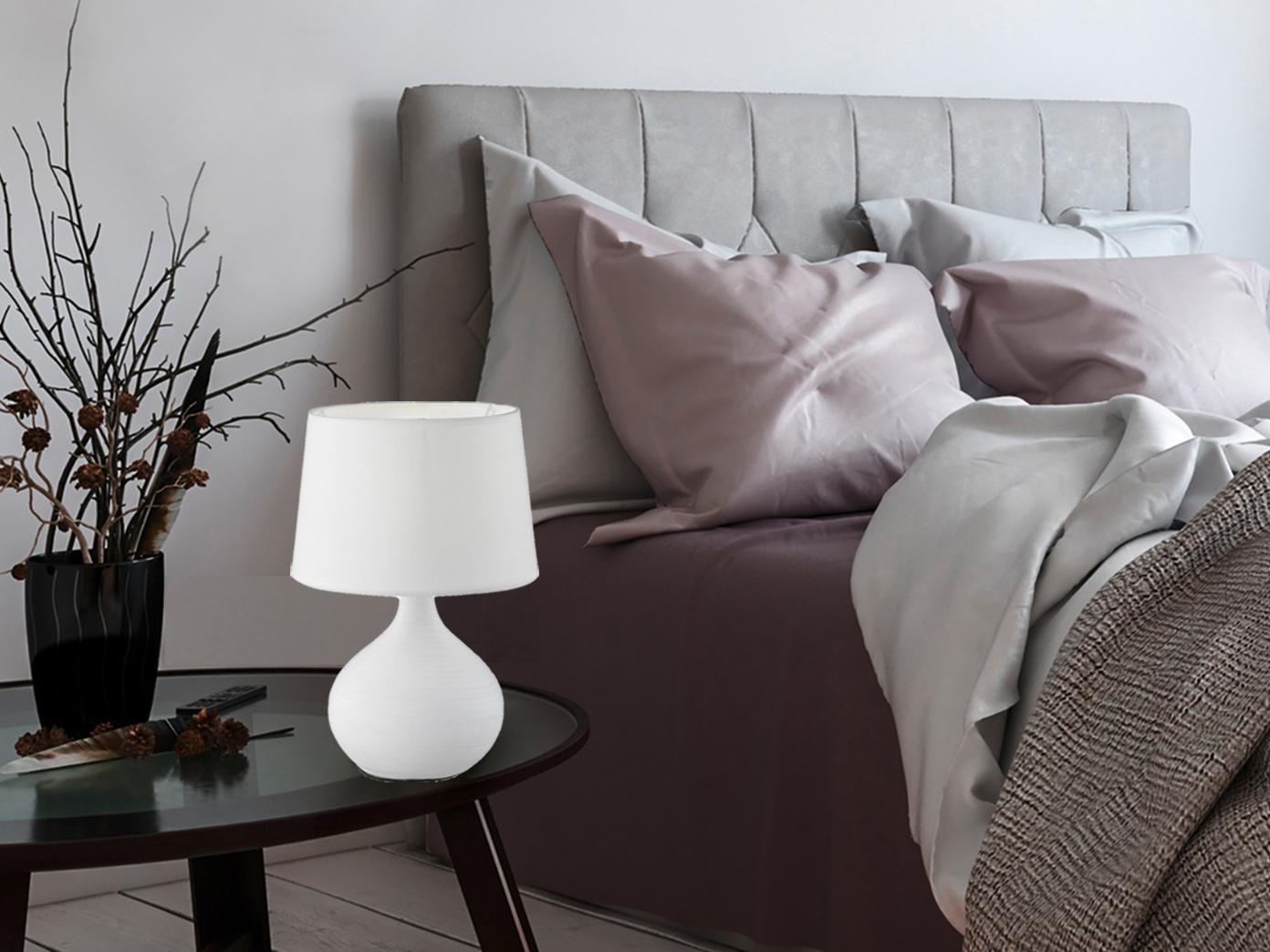 Indexbild 11 - LED Tischleuchten Keramik mit Stoffschirm klassische Schlafzimmerzimmerleuchten