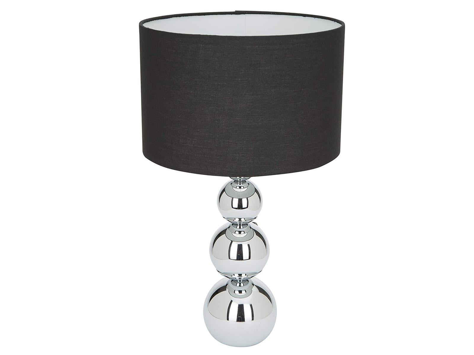 Moderne-Tischleuchte-mit-TOUCH-Dimmer-Lampenschirm-in-Stoff-Schwarz-Nachttisch
