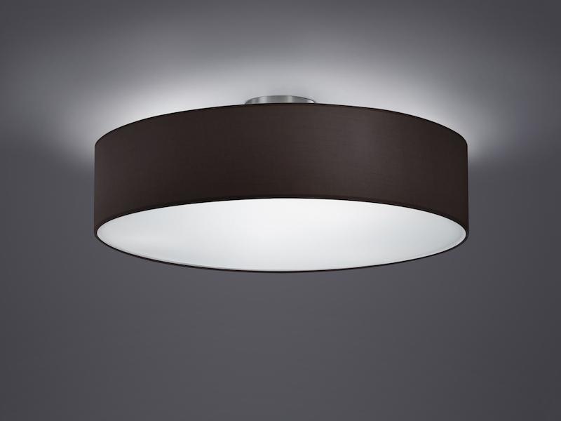 TRIO Design Deckenleuchte Mit Stoff Schwarz Ø 50cm, Schirm