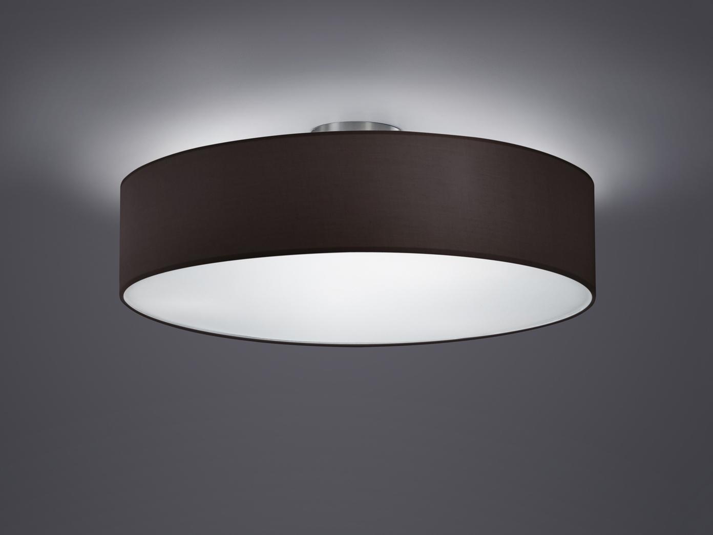 TRIO Design Deckenleuchte mit Stoff schwarz Ø 50cm, Schirm Rund Deckenlampe