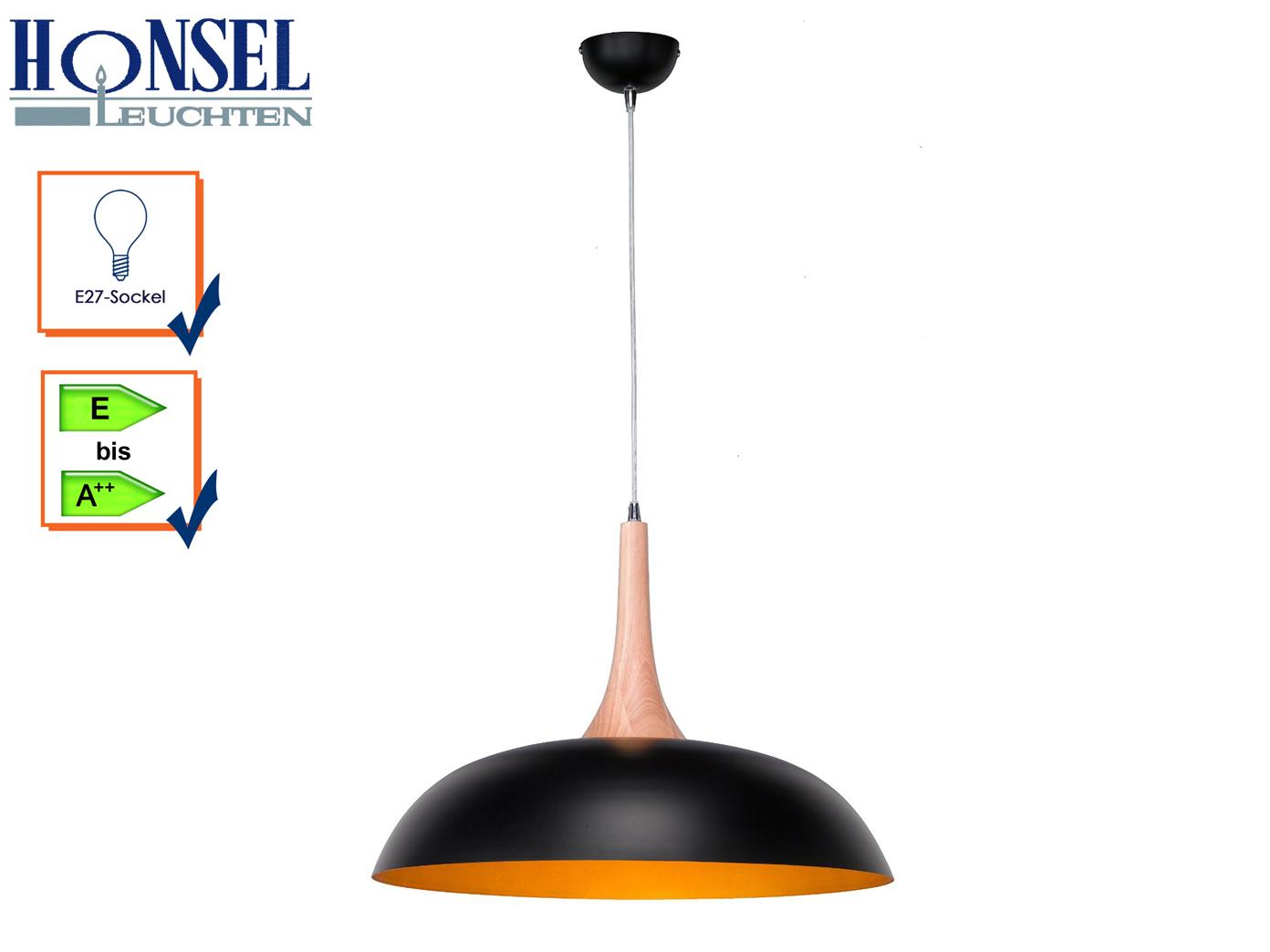 Pendelleuchte  Hängeleuchte Lampe Holz Metall schwarz gold Hood Ø 50 cm