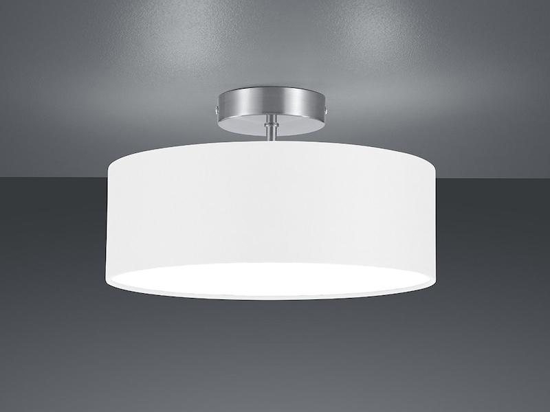 trio design deckenleuchte mit stoff wei 30cm deckenlampe schirm rund ebay. Black Bedroom Furniture Sets. Home Design Ideas