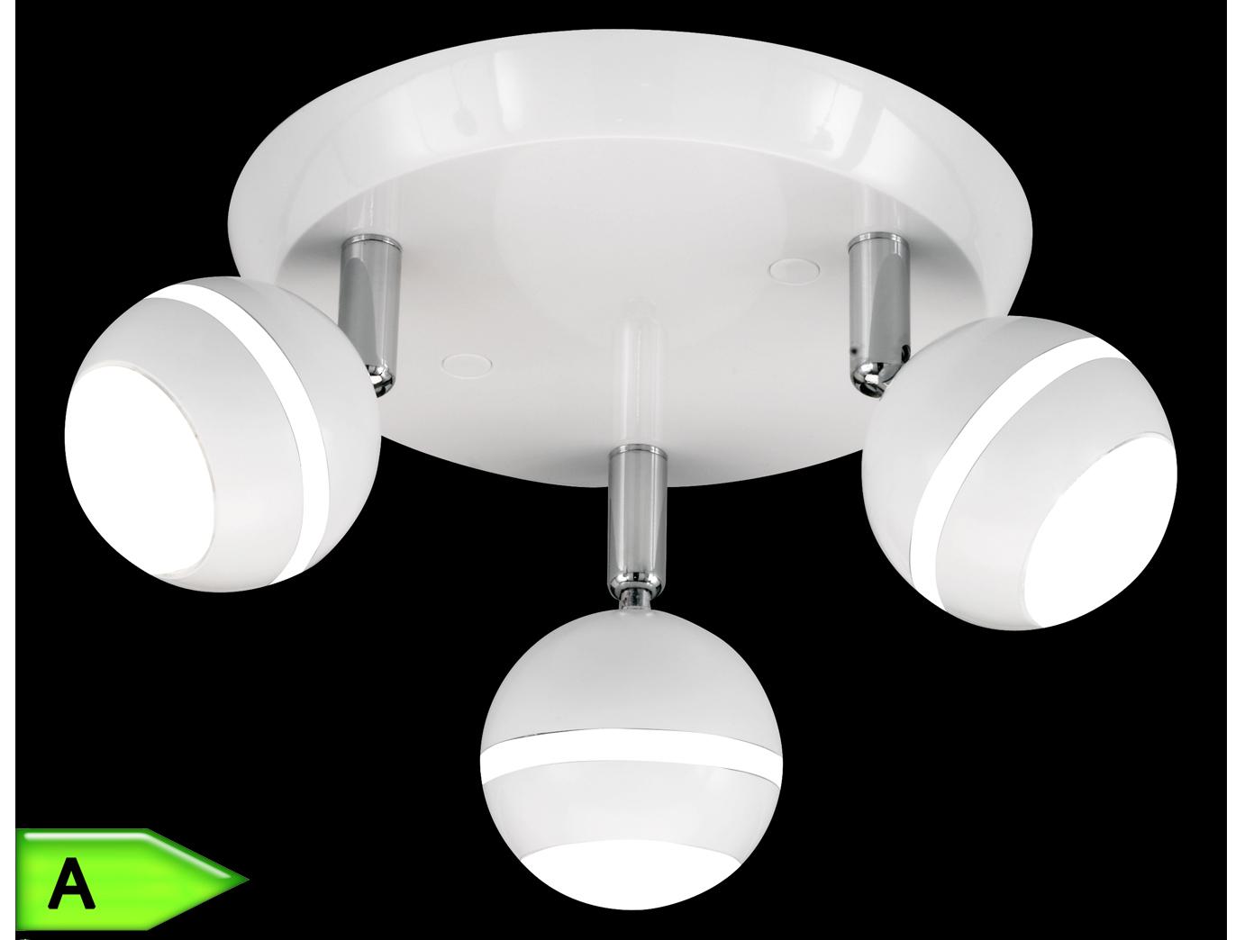 Trio LED-Rondell, ink.3x4,2W SMD-LED, Ø 21cm, Kunststoff weiß glanz