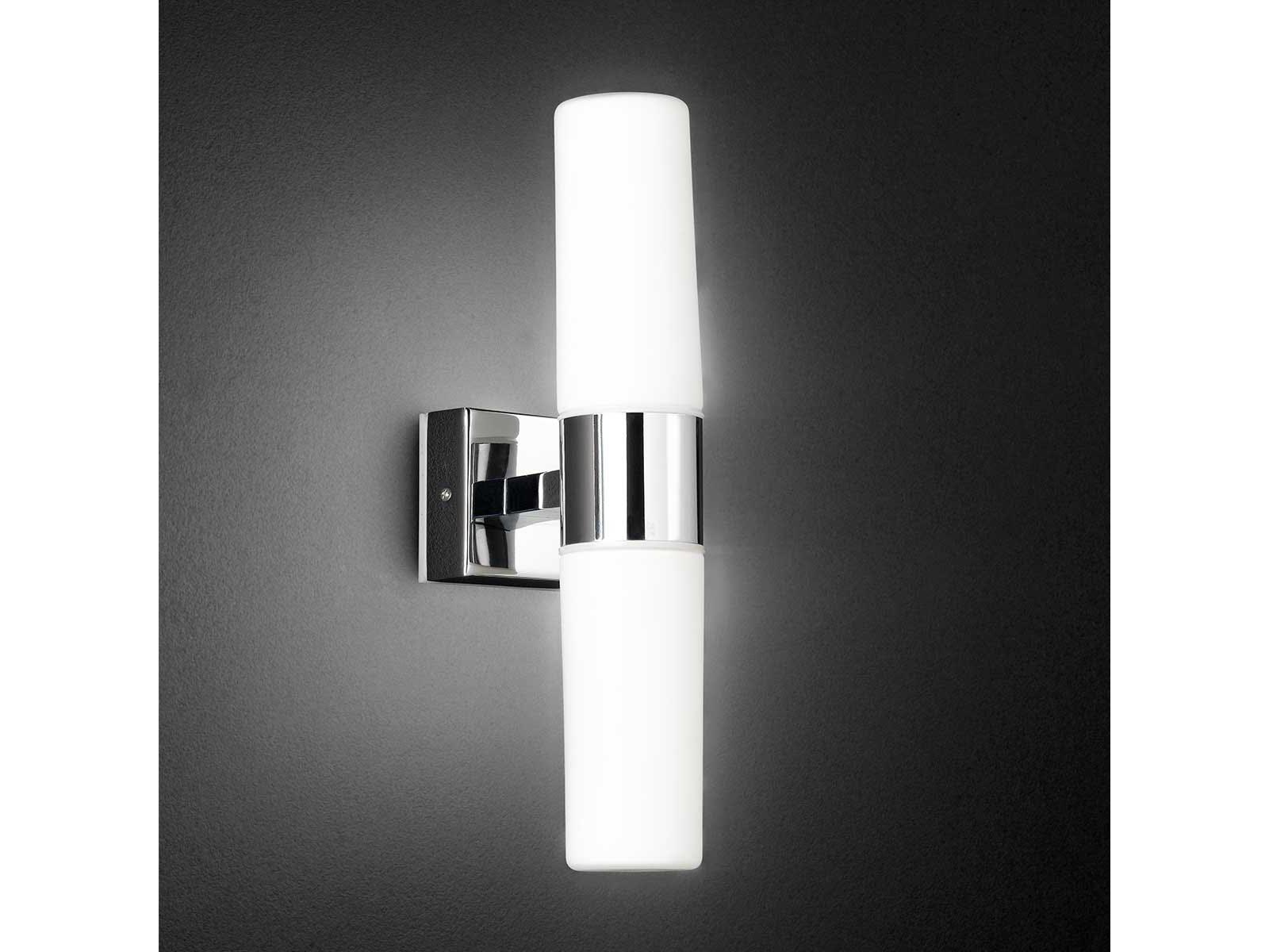 LED Wandlampe fürs Bad, Chrom / Glas weiß, Wofi-Leuchten | eBay