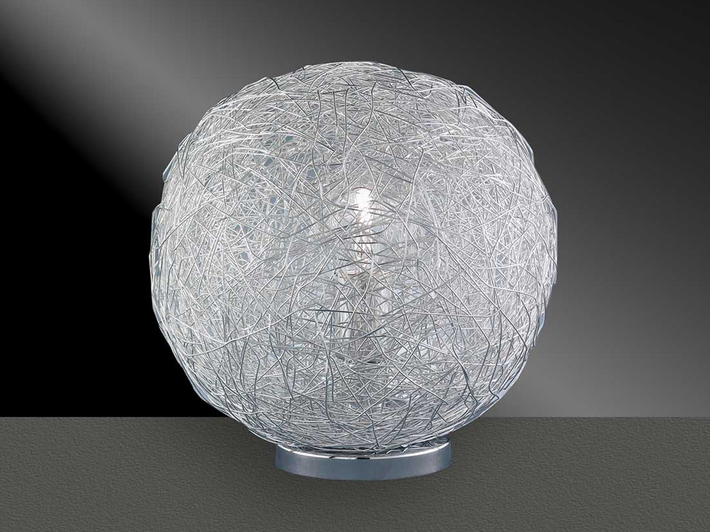 Kugelförmige Tischlampe 30cm Chrom, Drahtgeflecht, Action by Wofi | eBay