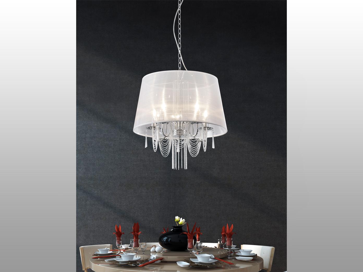 Eleganter l ster mit behang stoff lampenschirm wei 50cm for Kronleuchter mit lampenschirm