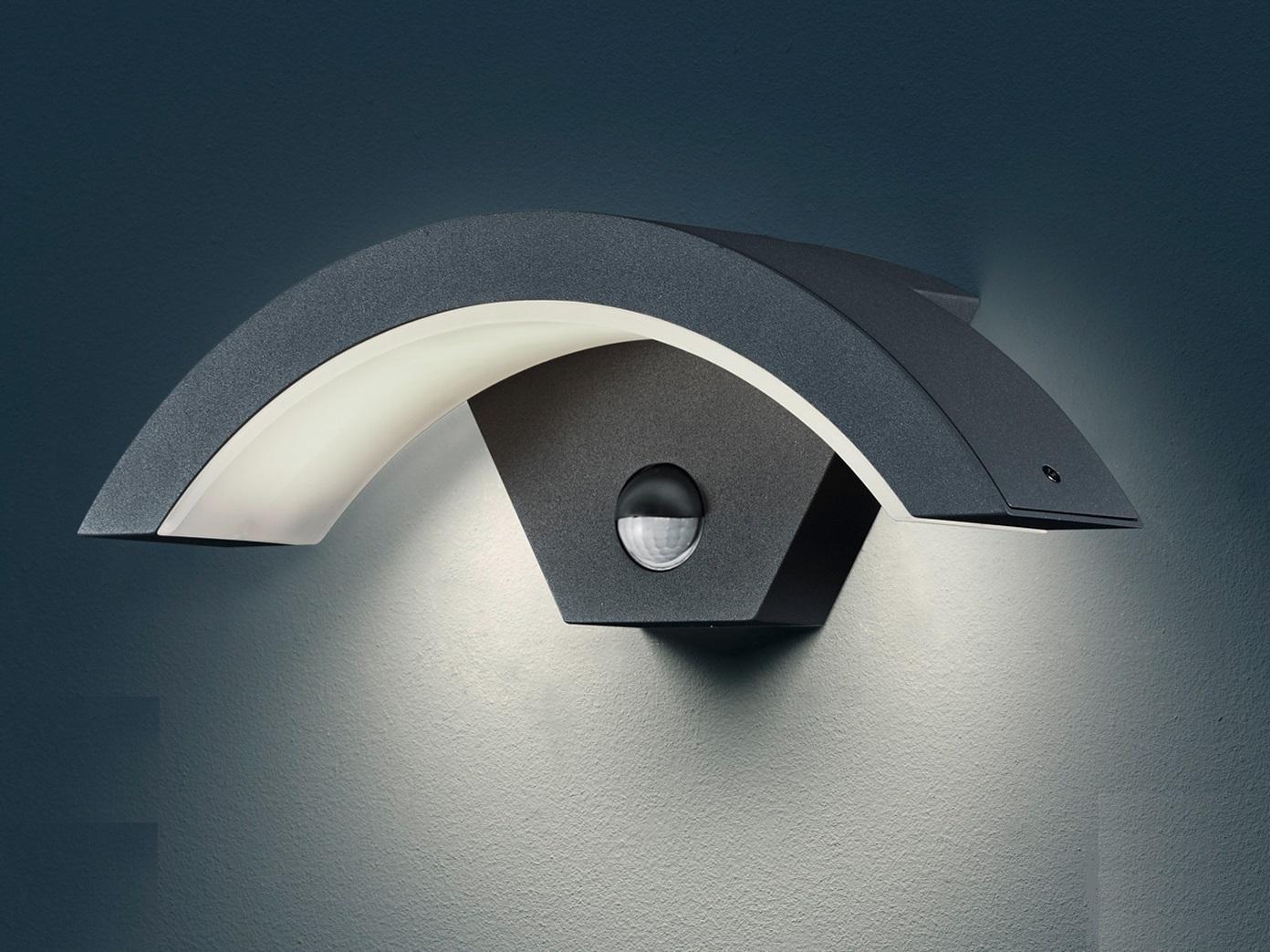 Außenleuchte OHIO schwarz, Bewegungssensor, IP54, 6 W LED, H. 10 cm