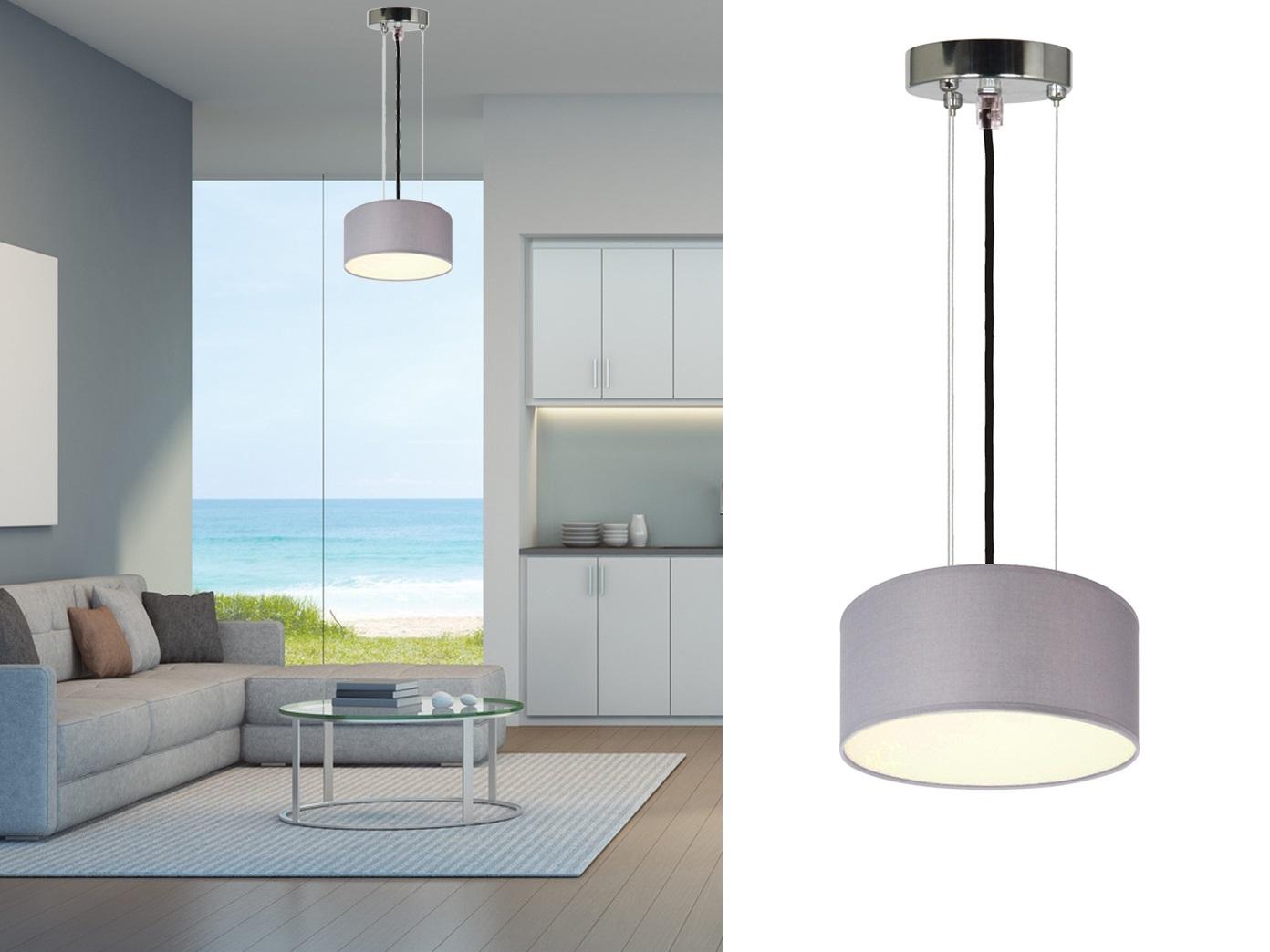 Set moderne wand deckenlampe Ø cm stoffschirm grau mit