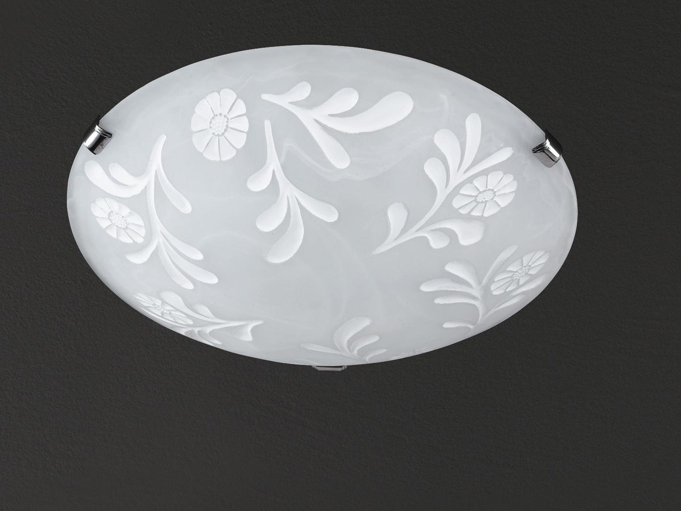 Deckenleuchte, Glas alabaster weiß, Dekor, Chrom, Honsel-Leuchten, FLORA