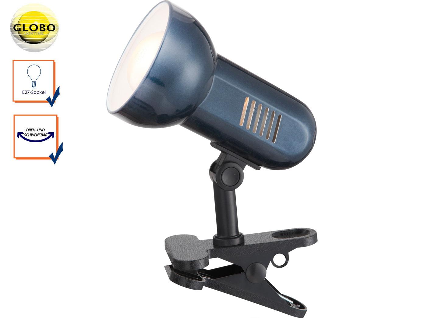 Klemmleuchte schwenkbar Klammerleuchte BASIC in Blau, Schreitischlampe Leselampe