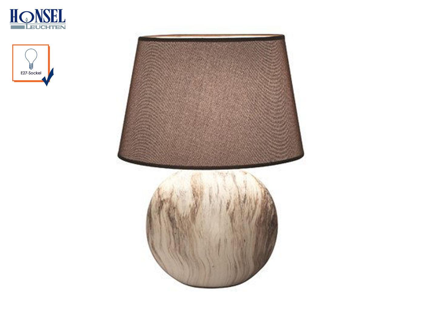 Tischleuchte HILL Strukturstoff braun Höhe 60cm Wohnzimmerlampe Honsel-Leuchten