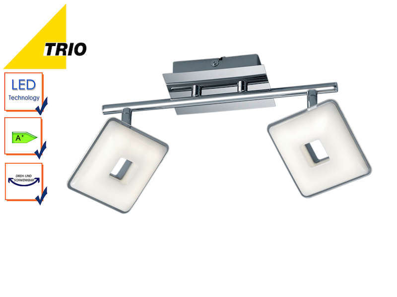 Led deckenleuchte balken pontius chrom acryl wei 2x 3 for Deckenleuchte led balken