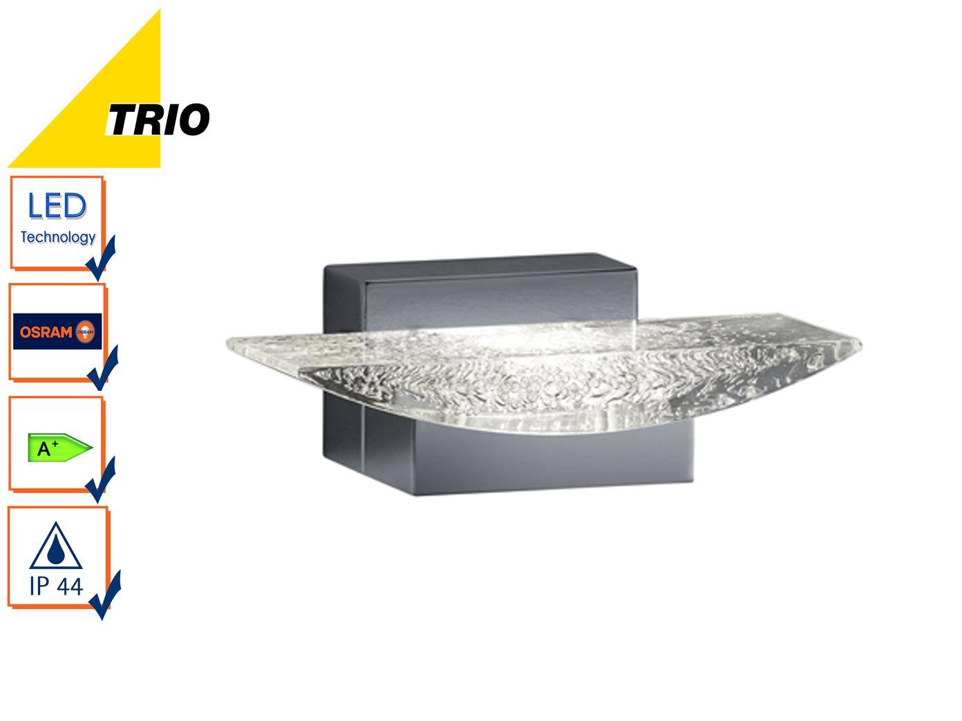 led wandlampe badlampe chrom leuchte badezimmer modern acryl mit blasen trio eur 59 99. Black Bedroom Furniture Sets. Home Design Ideas