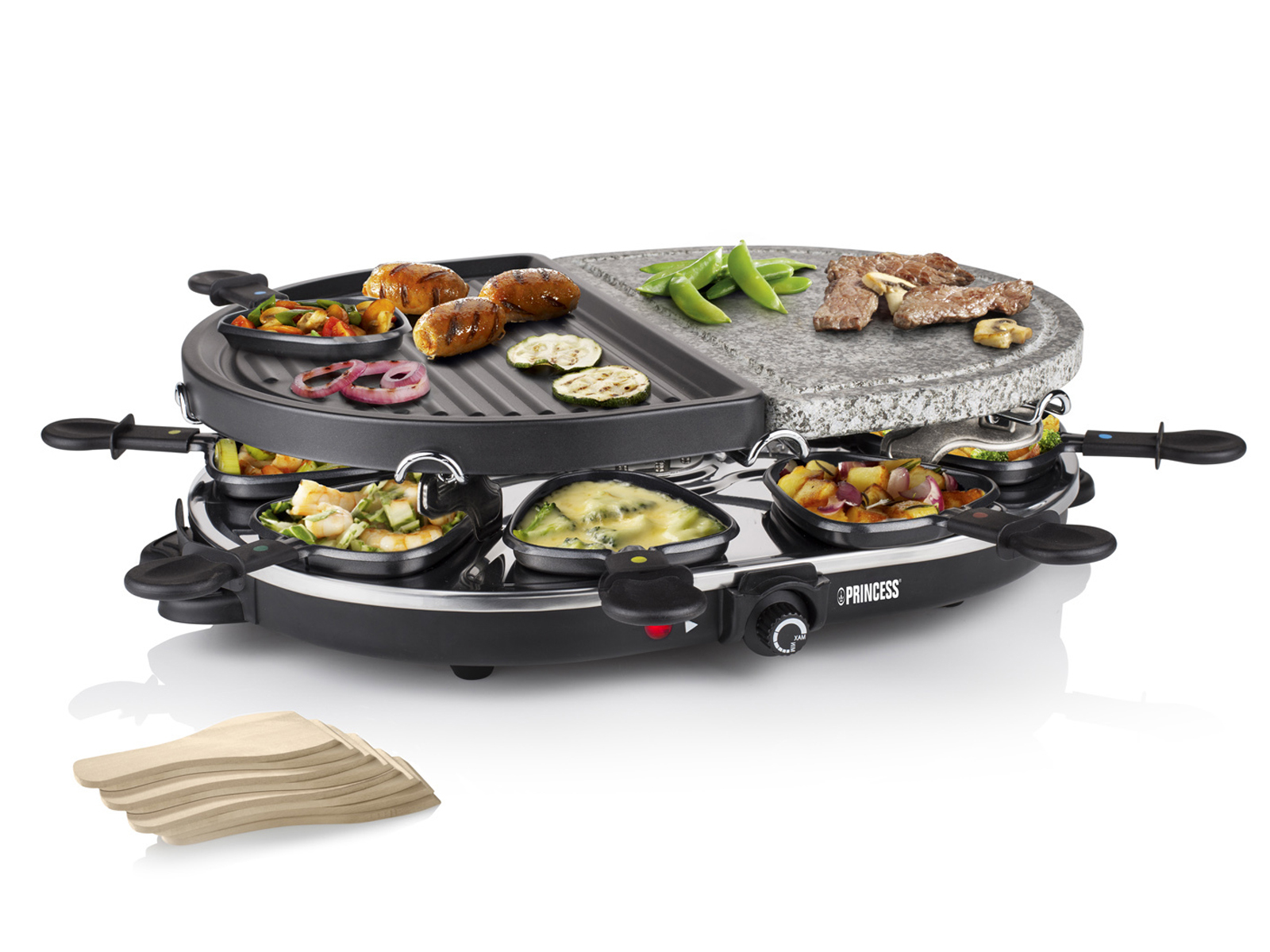 raclette grill 8 personen bratplatte steinplatte 1200w antihaftbeschichtet ebay. Black Bedroom Furniture Sets. Home Design Ideas