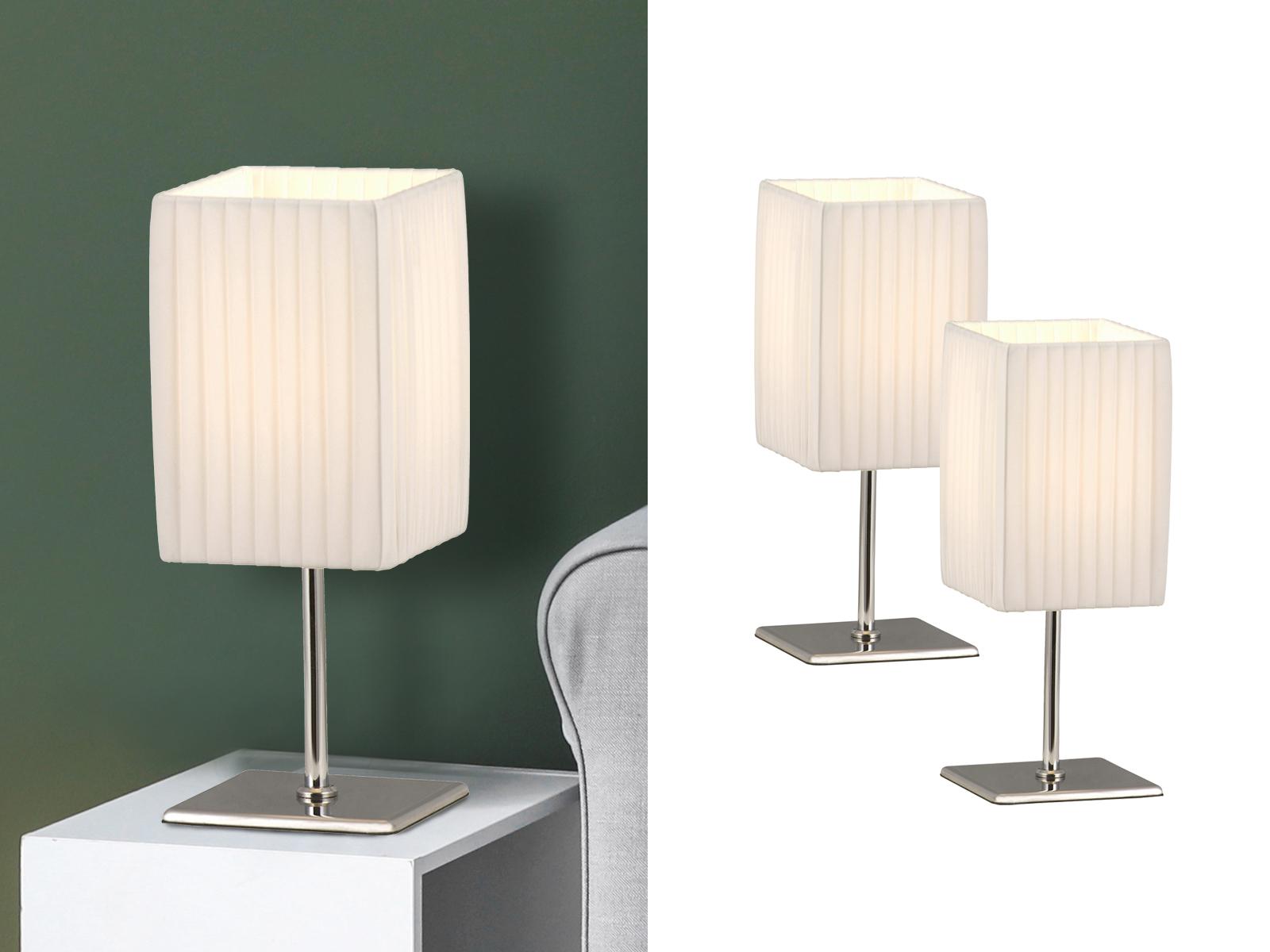 2x Globo Tischlampe BAILEY, Chrom, Faltenschirm, Tischleuchte ...