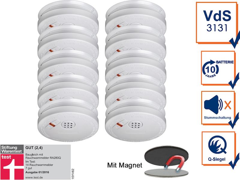 10er set rauchmelder 10 jahre batterie magnethalterung mit vds q siegel 4260492254619 ebay. Black Bedroom Furniture Sets. Home Design Ideas