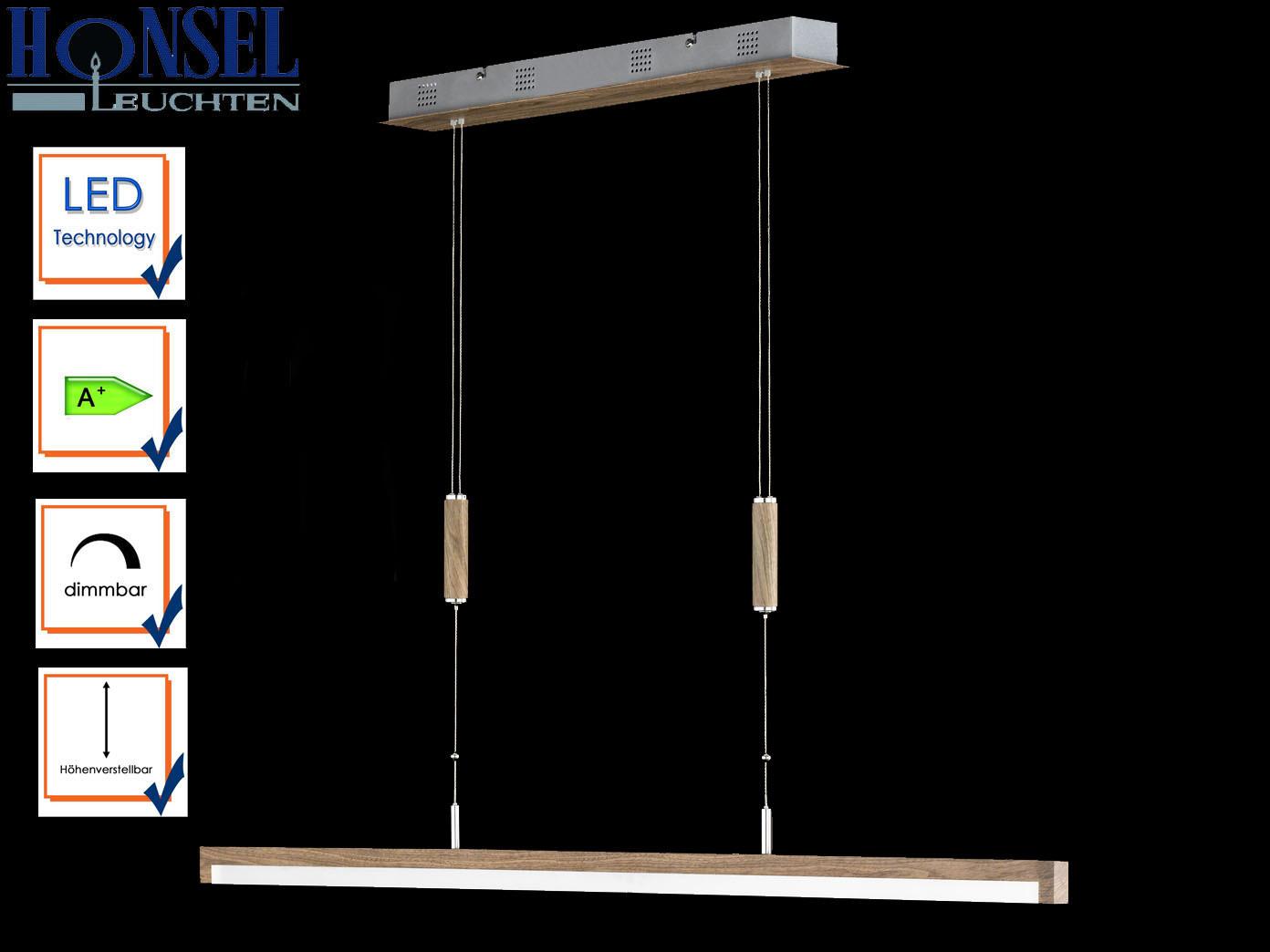 honsel led pendelleuchte stick holz dimmbar h henverstellbar lampe esstisch ebay. Black Bedroom Furniture Sets. Home Design Ideas