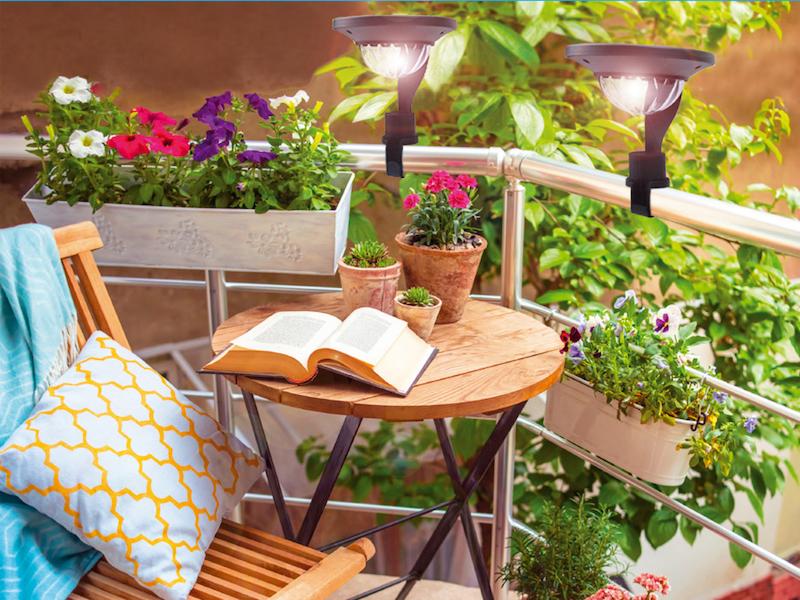2er set solarlampen bahama solarleuchten mit halterung f r balkongel nder ebay. Black Bedroom Furniture Sets. Home Design Ideas