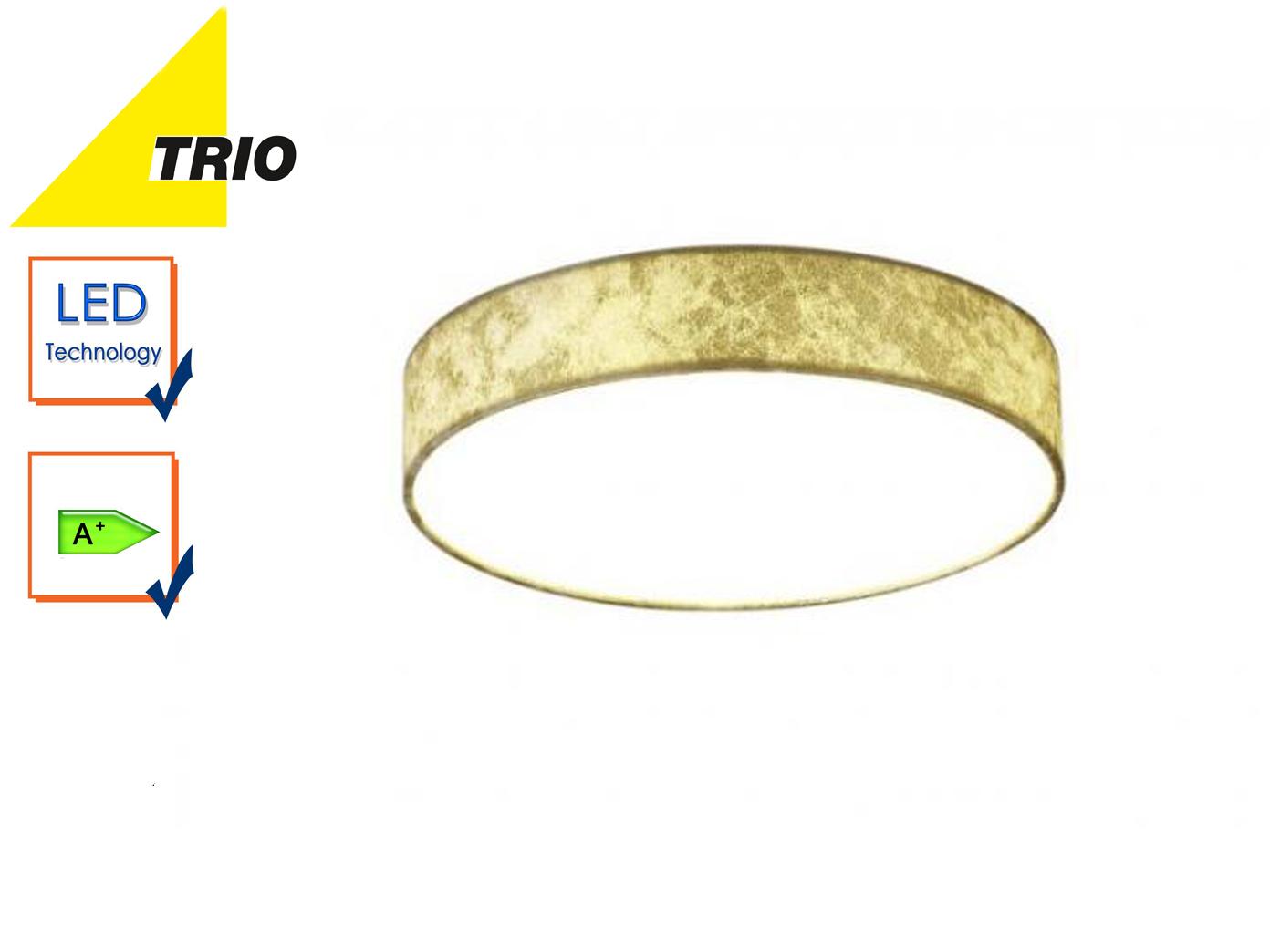 Trio LED Deckenleuchte LUGANO 30cm Stoff goldfarben, Wohnzimmerlampe Flurlampe