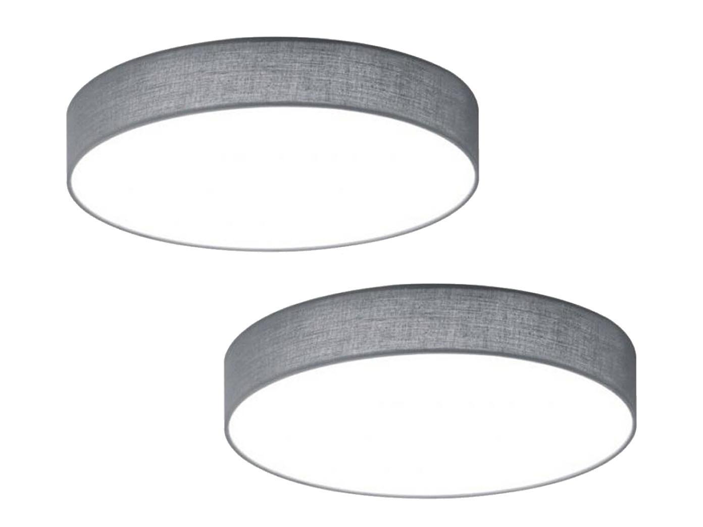 2er Set Trio LED Deckenleuchte dimmbar LUGANO 40cm Stoff grau ...