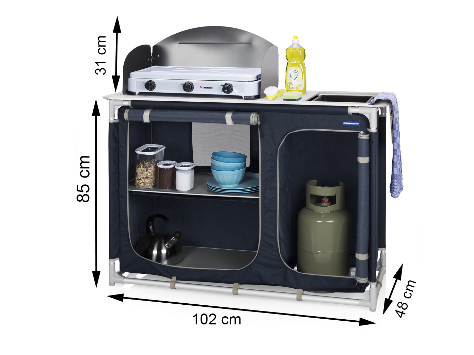 Outdoor Küchenschränke : Campingküche mit spüle & windschutz 102x48 cm outdoor küchenschrank