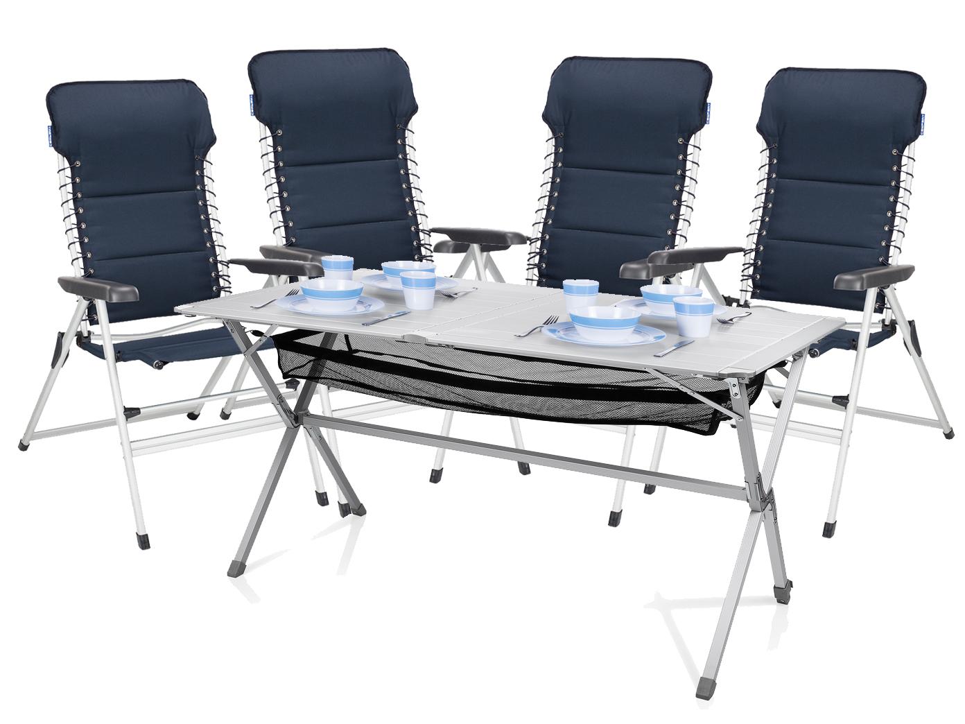 Camping SET Alu Campingtisch groß mit Stühlen Rolltisch Tisch und ...
