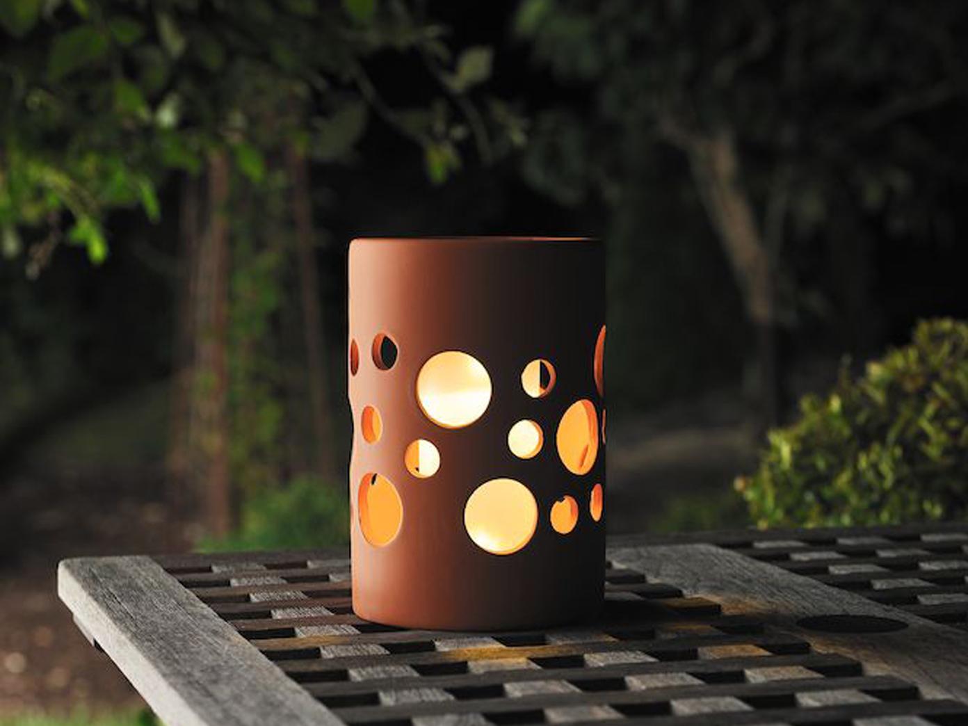 terracotta tischleuchte keramik solar led d mmerungssensor. Black Bedroom Furniture Sets. Home Design Ideas