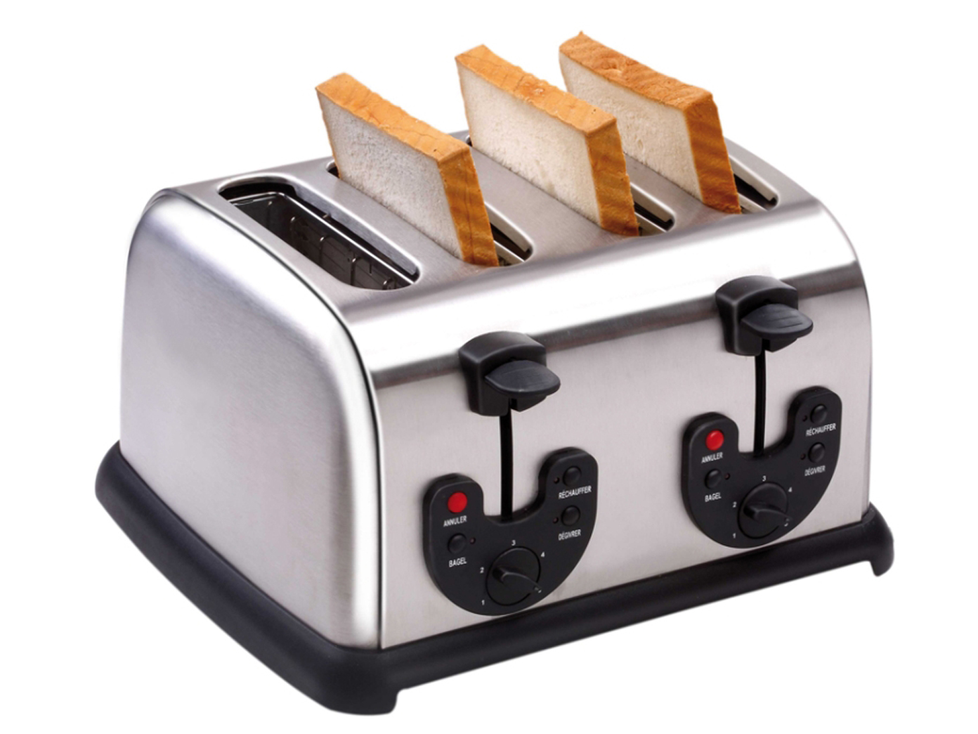 4 scheiben edelstahl profi toaster toastautomat 4 schlitz 145 1750 watt ebay. Black Bedroom Furniture Sets. Home Design Ideas